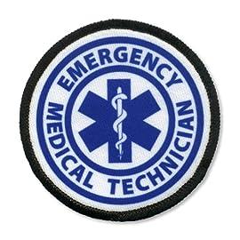 EMT EMERGENCY MEDICAL TECHNICIAN Fire Rescue 4 inch Black Rim Sew-on Patch