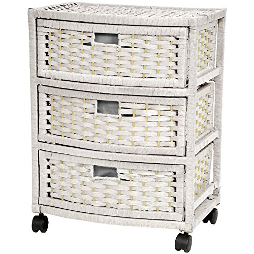 Oriental Furniture Best Tropical Beach Practical Simple Nightstand Lamp Table, 23-Inch 3 Drawer Woven Plant Fiber Rattan Style Chest, White