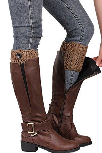 Frauen Schaltfläche Beinwärmer stricken Stiefel Socken LightGrey F