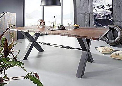 Table à manger 260x100cm - Fer et Bois massif d'acacia laqué - BLACK LABEL #104