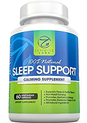 Natural Sleep Aid Support Supplement - Non-Habit Forming Capsules With Melatonin, L-Taurine, L-Theanine & 5-HTP - Extra Strength Nighttime Sleep Support - 60 Vegetarian Pills for a Restful Sleep