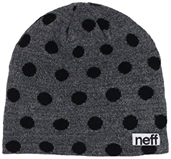 neff Women's Polka Beanie Hat, Charcoal/Black, One Size