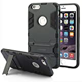 Iphone 6 Plus Case,Robot Kickstand Bumper Rugged Shock Absorbing Protective Case (6 Plus Black)