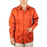 Men's Cotton blend guayabera long sleeve, color: Rust