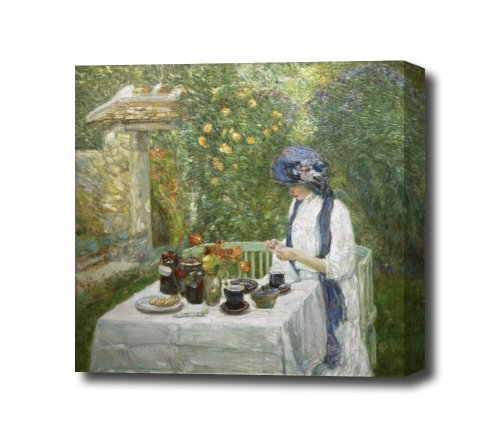Childe Hassam French Tea Garden Canvas Art Print, Ready To Hang 14 X 14