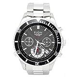 [エルジン]ELGIN 腕時計 電波 ソーラー クロノグラフ 100M防水 ブラック FK1374S-BP メンズ