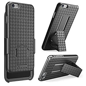iPhone 6 Case, [Revised Version / Fixed Belt Clip Holster] i-Blason Apple iPhone 6 Case 4.7 Transformer Slim Hard Shell Case Holster Combo with Kickstand and Locking Belt Swivel Clip for Apple iPhone 6 (Black)