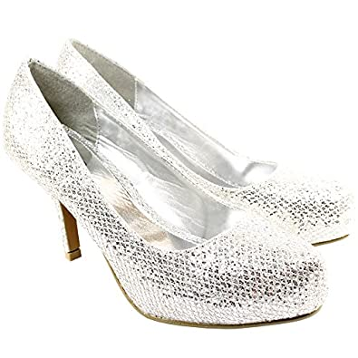 Womens Mid Heel Glitter Office Work Shoes Silver