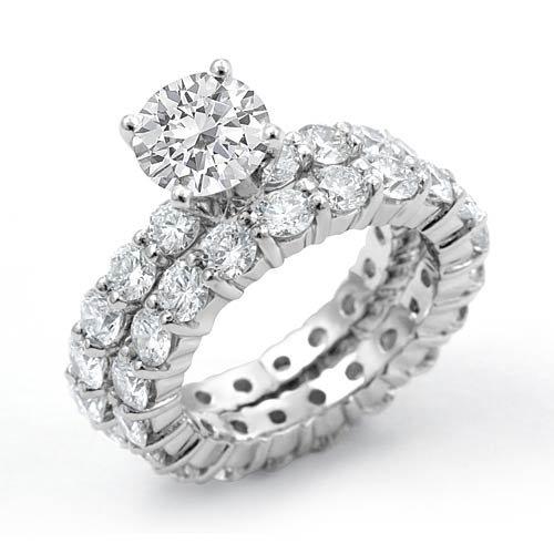 Round Cubic Zirconia Bridal Set Eternity Wedding Ring Sterling Silver 925 Sz5