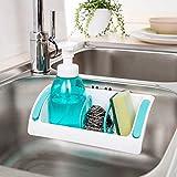 #1: Rian's Online 1pc Kitchen Sink Sponge Rack Holder Bathroom Storage Shelf Rack Organiser With Suction Cup Seasoning Holder (Random Color)