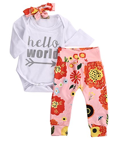 Newborn Baby Girls Top Rompers+Floral Pants Leggings Headband 3pcs Outfits Set (0-3 Months, Sliver Hello World)