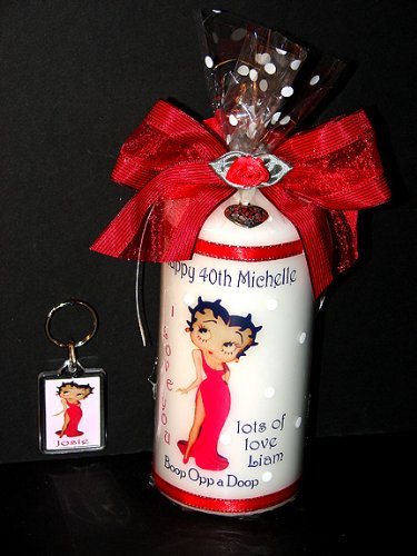 BETTY BOOP PERSONALISED CANDLE AND KEY RING GIFT