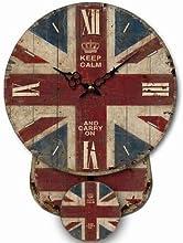 HORLOGE MURALE AVEC MINI PENDULE ANGLETERRE UNION JACK DRAPEAU NOSTALGIE CUISINE - Tinas Collection