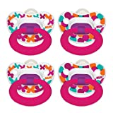 Nuk Pack of 4 Orthodontic Pacifiers, Fashion Girl Designs, 0-6 Months