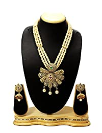 Designer Antique Pendant & Moti Mala Necklace Set Party Wear Necklace With Jhumki / Earring Set Fashion Jewellery