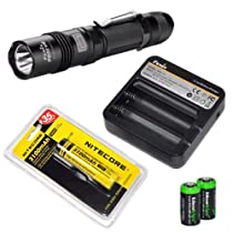 Fenix PD32 UE Ultimate Edition 740 Lumen CREE XM-L T6 LED Tactical Flashlight with Nitecore NL188 3100mAh battery, Fenix ARE-C1 Battery charger, Customized Diffuser Tip and Two EdisonBright CR123A Lithium Batteries