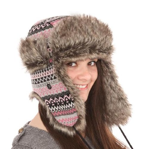 2bc551397cb New Mens Womens Unisex Fur Fairisle Check Trapper Warm Winter Thermal Hat  A835