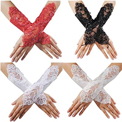 King so Sexy Fingerless Pearl Lace Satin Gloves Bride Wedding Party Costume