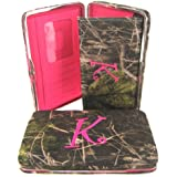"""Soft Camo Initial """" K """" Thick Flat Wallet Clutch Purse Hot Pink Camoflauge"""