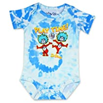 Dr. Seuss Thing 1 Thing 2 Play Time Boys Bodysuit Creeper-Blue-6-9 Months