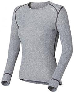 Odlo Warm Sous-vêtement fonctionnel à manches longues et col ras du cou pour femme Gris gris L