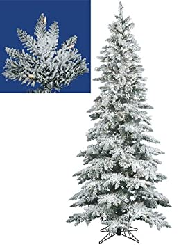 #!Cheap 7.5' Pre-Lit Snow Flocked Layered Utica Fir Slim Christmas Tree - Clear Lights