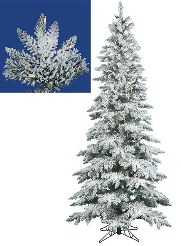 9' Pre-Lit Flocked Layered Uitca Fir Slim Christmas Tree - Clear Dura-Lit