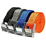 4pcs Metal Cam Buckle Tie Down Strong Nylon Lock Strap Luggage Cargo Lash Belt,3.1cm x4.9cm