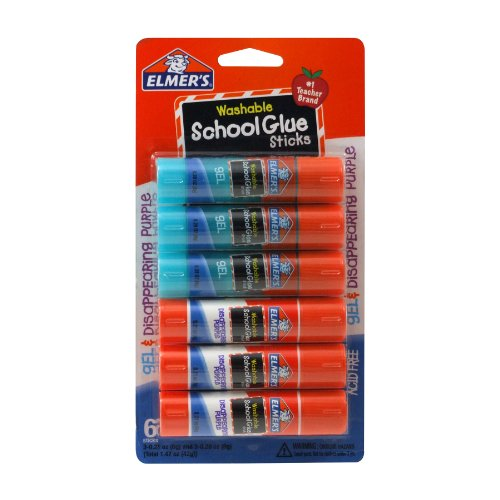Elmer's School Glue Stick Mixed Pack, Total of 6 Sticks per Pack, 3 Each 0.28 Ounce Gel Glue Sticks, and 3 Each 0.21 Ounce Disappearing Purple Sticks (E1558)