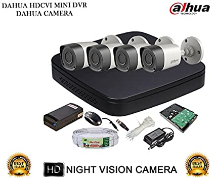 Dahua DH-HCVR4104C-S2 4-Channel Dvr + 4(DH-HAC-HFW1000RP-0360B) Bullet Cameras (With 1TB H.D,Mouse,Power Supply,BNC & DC Connectors,Cable)