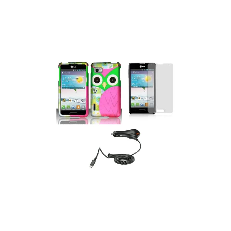 LG Optimus F3 (LS720, MS659)   Accessory Combo Kit   Hot Pink and Green Owl Design Shield Case + Atom LED Keychain Light + Screen Protector + Micro USB Car Charger
