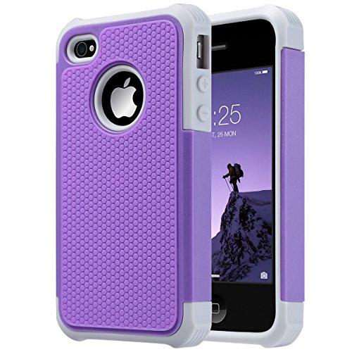 iPhone 4 Case,ULAK Heavy Duty Shockproof Durable Hybrid Dual Layer Rugged Protective Cases Cover with Hard Plastic and Soft Silicone for iPhone 4 4S (Purple +Grey) (Mobile Case Iphone 4s compare prices)