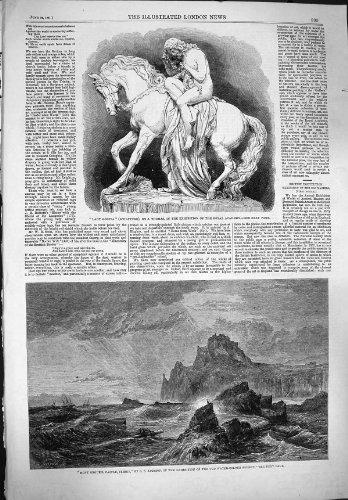 1861 の彫像のゴダイヴァ夫人 Mont Orgueil の城のジャージーの海