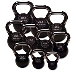 Body-Solid KBC Premium Rubber Coated Kettlebell Set 5-75 lbs. with Chrome Handles