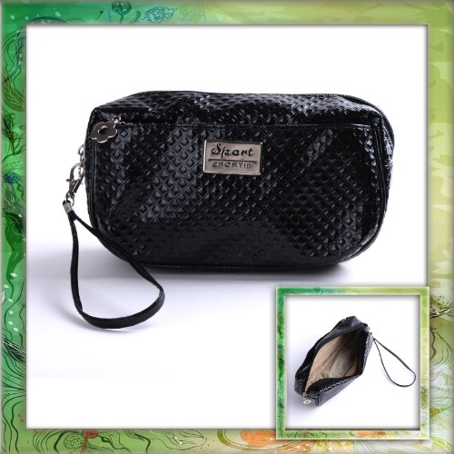 Black PU Leather Portable Lady Cosmetic MAKEUP Zipper Hand Strap Case Bag B0321B0321