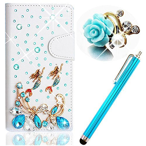 Vandot 3 in1 Zubehör Set Schutzhülle Handyhülle für Smartphone Samsung Galaxy Ace 2 GT-I8160 Smartphone (9,7 cm (3,8 Zoll) 3D Bling Strass Romantik Träumen Meerjungfrau Leder Schale Tasche Glitzer Magnet PU Blume Diamant Flip Case Shining Diamond 3D DIY Hülle Crystal Handy Cover Etui + Rosa Metall Touch Pen Stift Stylus + 3.5mm Anti Dust Plug Flower Rhinestone Perle Staubschutz Stöpsel - Cartoon Märchen Mobile Phone Accessory Purse Portemonnaie Damen Geldbörse Leder Geldbeutel - Weiss Blau