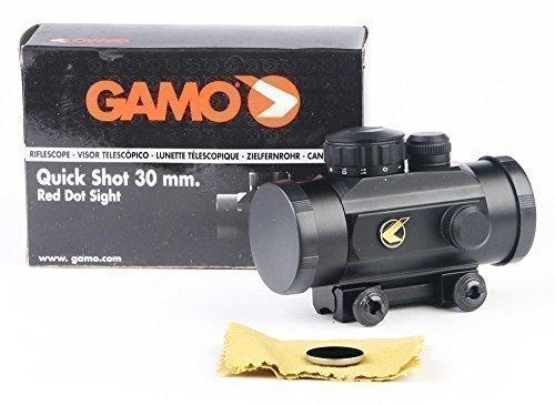 Lunette de Tir Gamo Quick Shot Red Dot BZ 30mm - avec Bouchon Objectif et Rail de Montage - Lorsque vous allumez un point rouge / orange vif