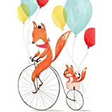 Tallenge Art For Kids - Friendly Foxes - A3 Size Rolled Poster For Kids Room Decor