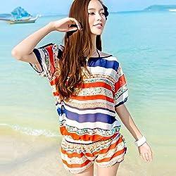 Krivani Women's Beach Wear (BW113_Multi-colored_MEDIUM)