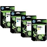 Pack de 4 cartouches d'encre pour HP 940XL. 1 noire - 1 Cyan - 1 Magenta - 1 jaune.