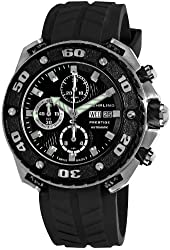 Stuhrling Prestige Men's 322A.33161 Prestige Swiss Made Automatic Valjoux 7750  Maverick Chronograph Multifunction Black Watch