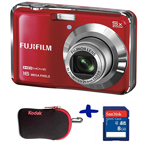 Bundle: Fuji AX650 Digital Camera in Red + Sandisk SD 8GB + Kodak Neoprene Case (Fujifilm Finepix AX650 Black, 16MP, 5xOptical Zoom, 2.7