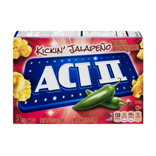 Act Ii Kickin' Jalapeno Microwave Popcorn, 3 Count, 8.25 Oz (Pack Of 3) 9 Total Bags