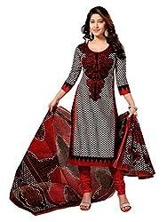 Gokals Women's Cotton Unstitched Salwar Suit (G828_Black Red_Free Size) (G828)