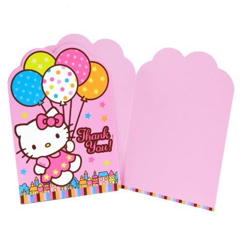 Imagen de Amscan Hola Dreams globo del gatito Die-Cut le agradece las tarjetas, 8-Count