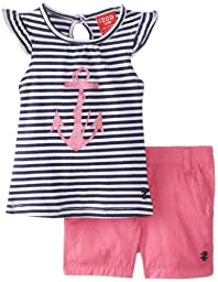 Izod Baby Girls\' Girls\' 2 Piece Short Set, Navy, 12 Months