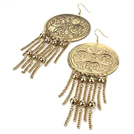 Large Drop Pierced Fashion Earrings Antique Gold