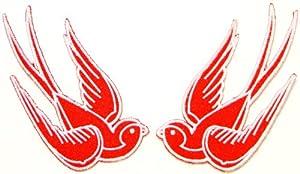 "Amazon.com: 9""x5"" 2 Bird Sparrow Swallow Dove Freedom Tatoo Lady Rider"