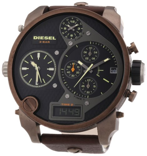 diesel dz7246 montre homme quartz analogique digital cadran noir bracelet cuir. Black Bedroom Furniture Sets. Home Design Ideas