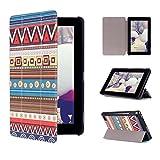 Amazon Kindle Fire 7 2015(第五世代) 専用 高品質PUレザーケース おしゃれ 三つ折タイプ 薄型 軽量 スタンド機能付き スマートカバー (The people Totem)